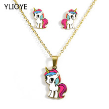 Cartoon Cute Pink Horse/Unicorn/yellow duck/dog/panda/lion/KT cat Gold Color Necklaces earring Fashion Jewelry Set Kids Gift(China)