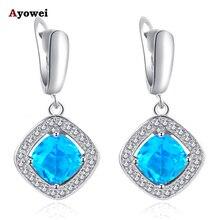Голубой цирконий серьги для женщин Серебряные штампованные здоровья и красивая бижутерия висячие серьги JE1016A