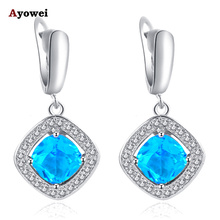 Blue Zirconia Earrings for Women Silver Stamped Health and Beautiful Fashion Jewelry Dangle Earrings JE1016A
