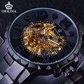 Orkina 2017 steampunk mecânico série 3d dimensional design dial mens relógios top marca de luxo relógio esqueleto relógio automático