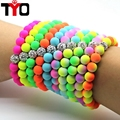 8mm Candy colors Silicone Beads Bracelet Women Jewelry Trendy DIY Fluorescent Neon Strand Bandage Charm Men Bracelets Bangles.