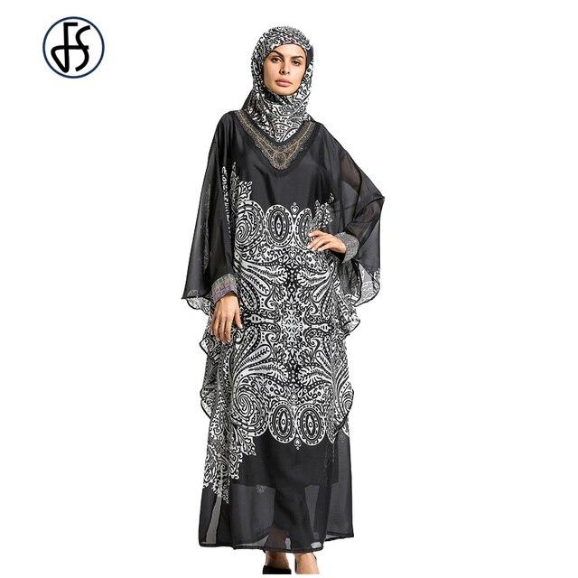 8bb6e5cca80de Muslim Modern Black Loose Robe Arabe Caftan Abaya Turkish Islamic Dubai  Maxi Dress Malaysia Moroccan Clothing Included Hijab