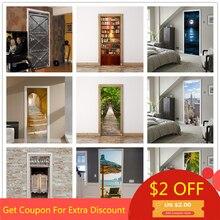 77x200 см 3D красивые пейзажные наклейки на дверь для гостиной, спальни, ПВХ клейкие обои, домашний декор, водостойкая Наклейка на стену