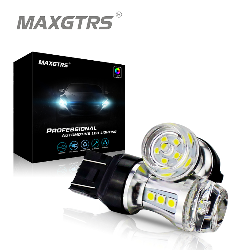 цена на MAXGTRS 2x T20 7443 W21/5W Auto Car Led Light Bulbs 12V 6000K Turn Signal Brake Light Back Up Reverse Light Led Fog Lamps