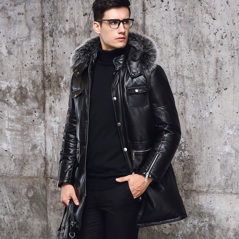 Winter New Zipper Pockets Mens Slim Fit Long Coats Male Hooded Sheepskin Genuine Leather Warm Overcoats Fur Collar Large Size(China)