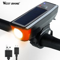 WEST BIKING Solar Powered Bicycle Light With Bells Cycling USB Charging Front Lamp 350 Lumen 4