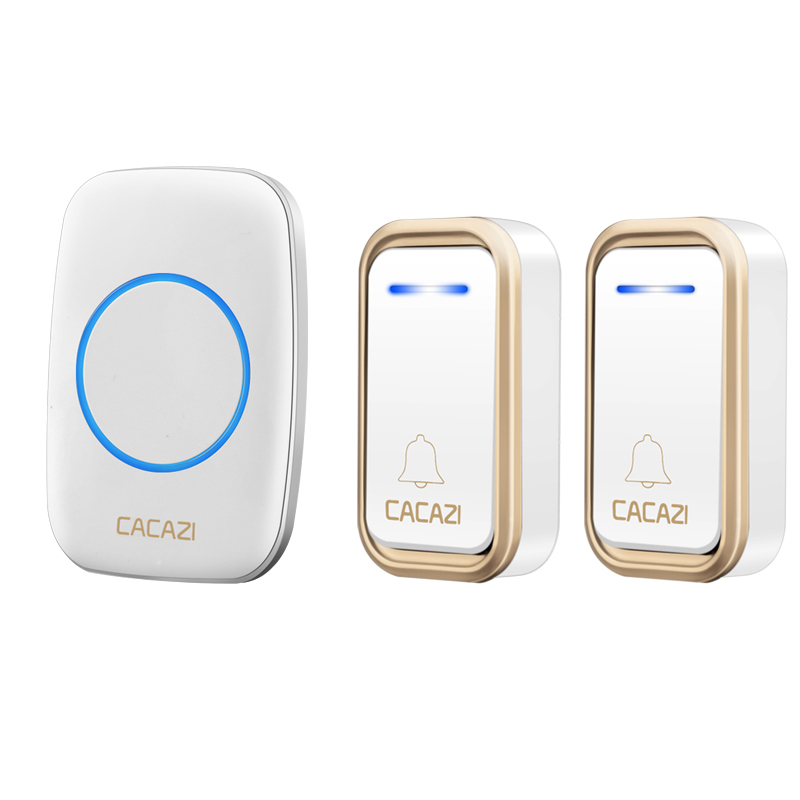 CACAZI A10F Wireless Doorbell Wall Plug-in Cordless Waterproof Home Door Bell Chime 300M Range 38 Chimes Easy Install 1 Receiver ts k108w12 wireless doorbell portable digital cordless door bell kit waterproof 1000ft 300m range with plug in receivers