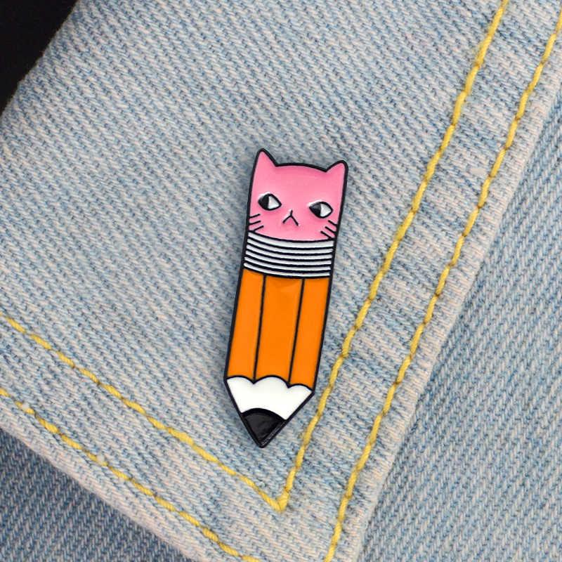 Карандаш брошь котенок Забавный розовый кот лицо карандаш письмо эмаль булавки рубашка значок для рюкзака писатель подарки дети вдохновляющие ювелирные изделия