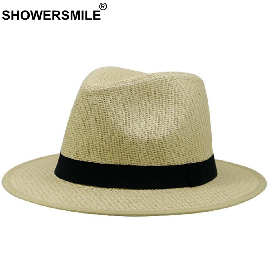 db777672f600d4 SHOWERSMILE White Straw Panama Hat Women And Men Breathable Summer Sun Hats  Ladies Beach Solid Wide Brim Fashion Fedora Caps