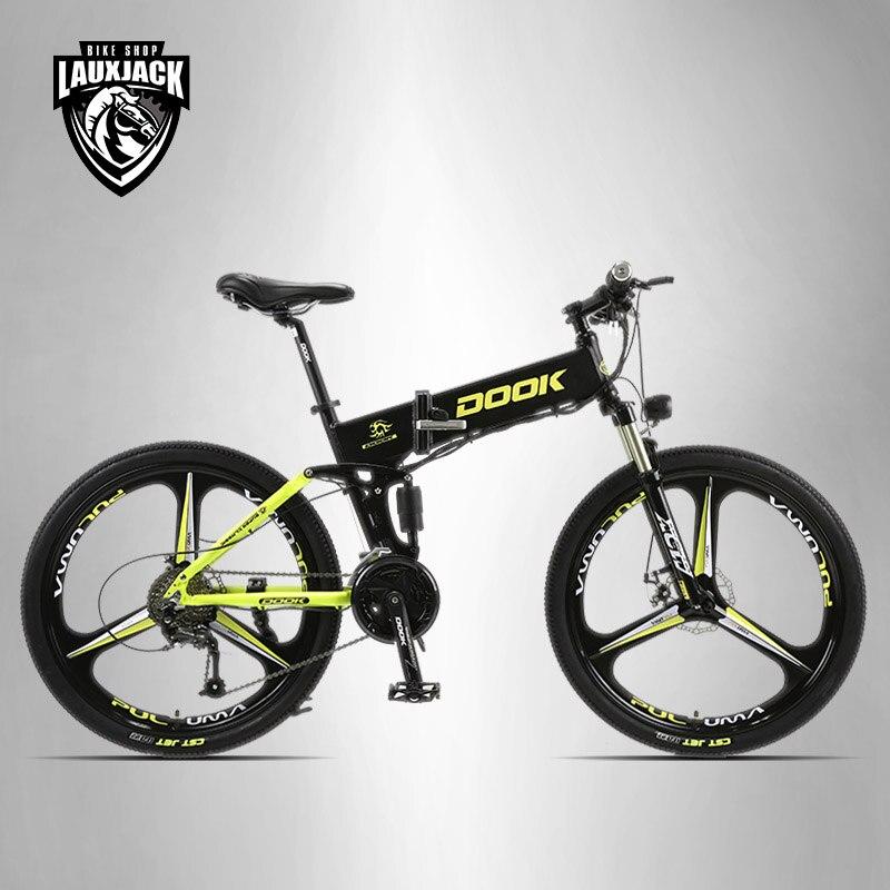 DOOK, DOOK montaña bicicleta eléctrica suspensión completa de aluminio plegable marco 27 velocidad Shimano Altus mecánico de 26