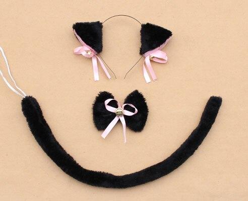Повязка на голову с ушками neko в виде животных, белого, черного цвета, кота, тигра, аниме, хвоста 60 см, плюшевые перчатки, рождественские, пасхальные, вечерние, для взрослых и детей - Цвет: style 1