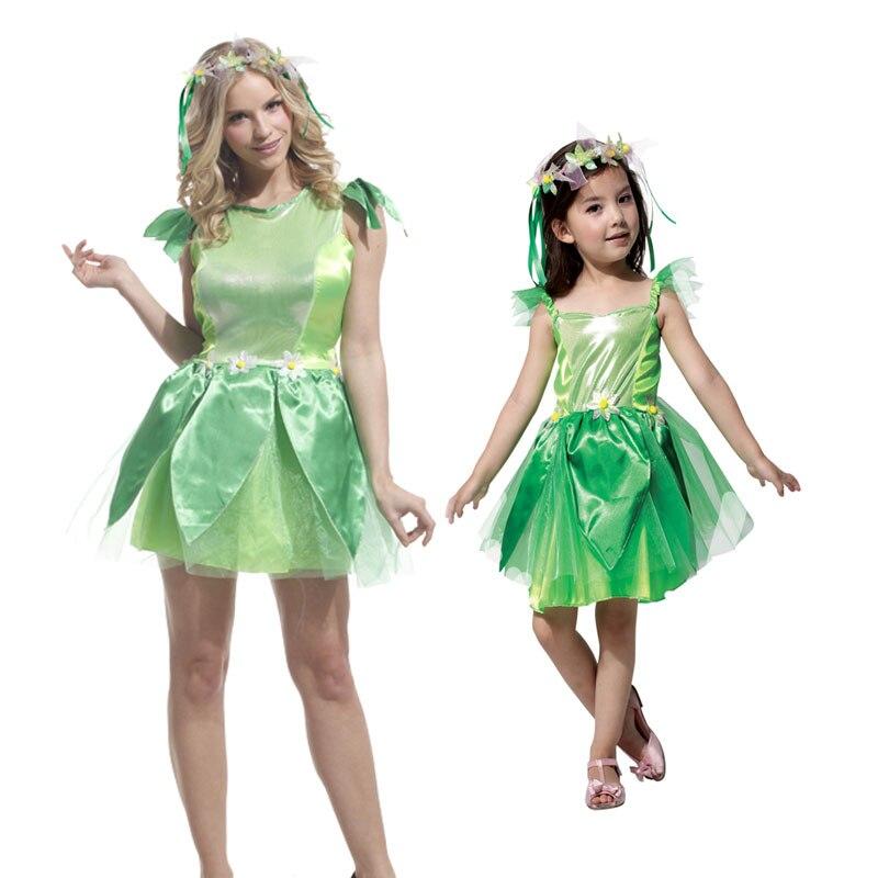 Umorden Festa di Carnevale Costumi di Halloween Delle Ragazze Tinkerbell Principessa Delle Donne del Vestito Woodland Fata Verde Elf Cosplay per I Bambini Adulti