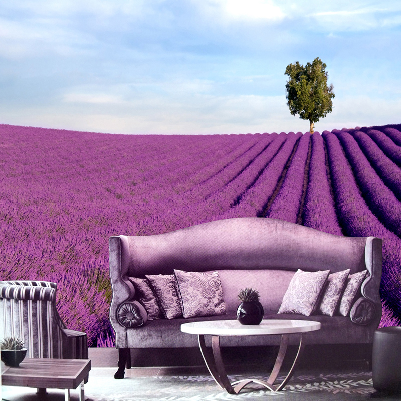 Lavender sofa customized large mural wall TV sofa background wall pastoral mural wallpaper non-woven wall paper 3D stereoscopic