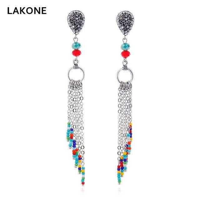 Women Dangle Tassel Earrings Metal Chain Rhinestone Pave