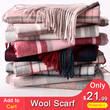 hot deal buy plaid wool scarf for women winter shawls and wraps ladies luxury brand 2018 soft thick pashmina capes plaid warm scarf wool wrap