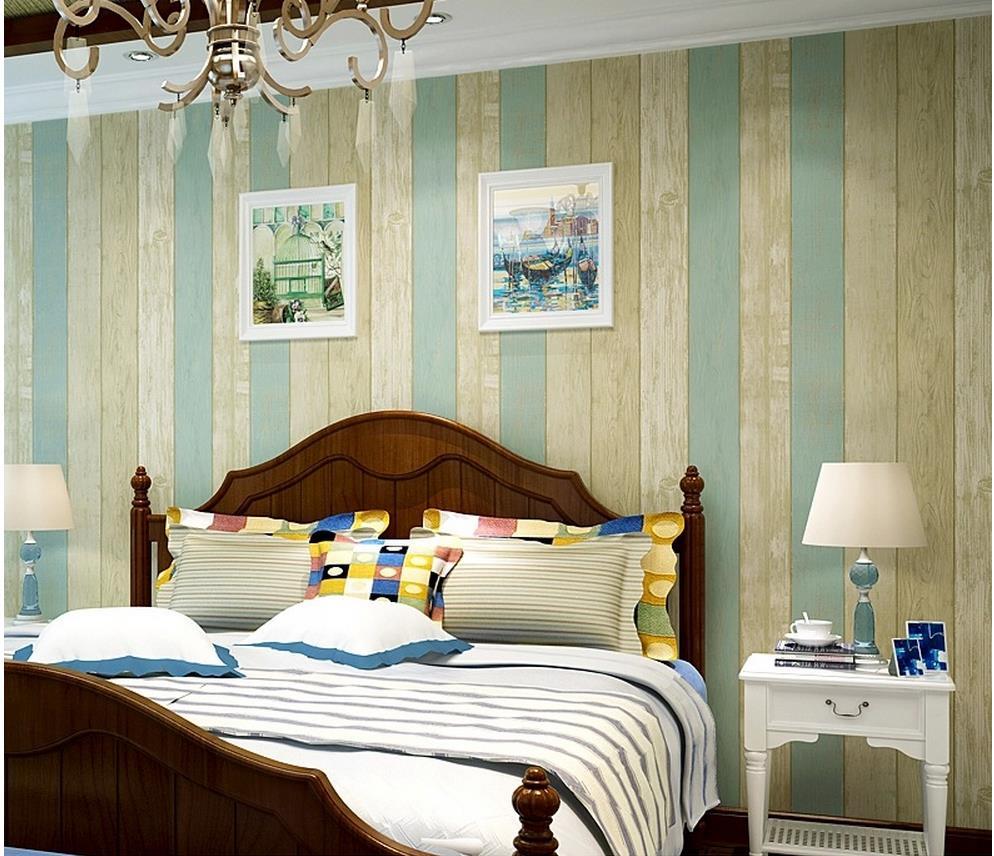 ФОТО Wood blue Mediterranean non-woven wallpaper bedroom living room TV backdrop retro nostalgia striped wallpaper