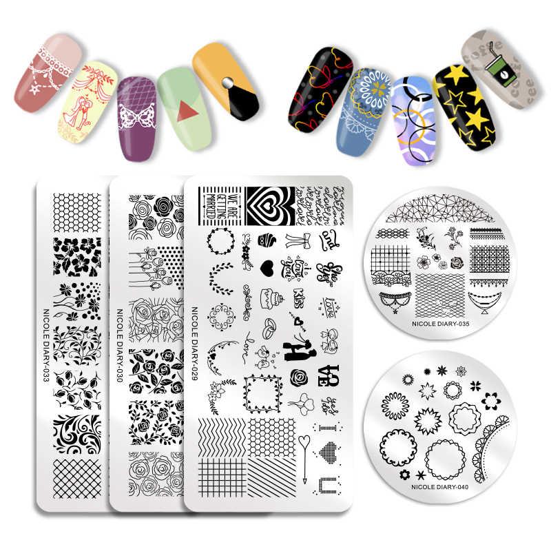 Nicole journal ongles estampage plaques fleur géométrie dentelle thème ongles modèle Mandala feuille timbre Nail Art timbre Image modèle