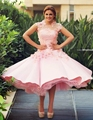 2017 A-line Satin Tulle Appliques Pink Said Mhamad Jewel Vintage Tea Length Cocktail Dress Party Gowns Prom dress gowns