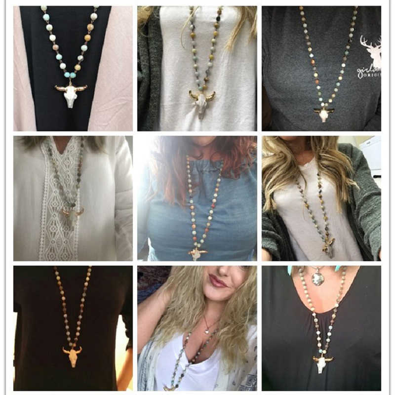 Fashion Bohemian Tribal Jewelry Long Knotted Amazonite Natural Druzy Stones Drop Pendant Stone Necklaces For Women 5