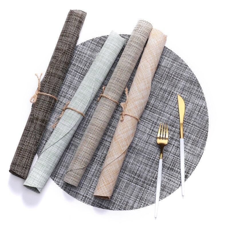 Janpan Home Table Napkins Round PVC Serviettes Hotel Restaurant Heat Insulation Non-slip Eco-friendly Decor Tablemat 4 Pack