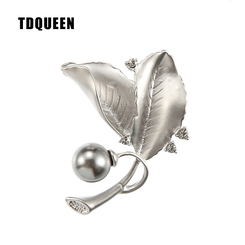 TDQUEEN Brooches Matte Silver Plated Pins and Brooches Vintage Safety Pin Jewelry Metal Leaf Flower Brooch