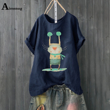Plus size 4xl 5xl 2019 Women New Summer Blue Print Cartoon Tops Short Sleeve O-Neck Female T-Shirt Casual Loose Ladies Tee Shirt casual loose bag hip long section t shirt women 2019 new summer short sleeve o neck ladies night club female mini dress t shirt