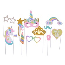 Set of 12 Girl Unicorn Photo Booth Props  Birthday Baby Shower Wedding Party Supplies Take Photos Princess Decor