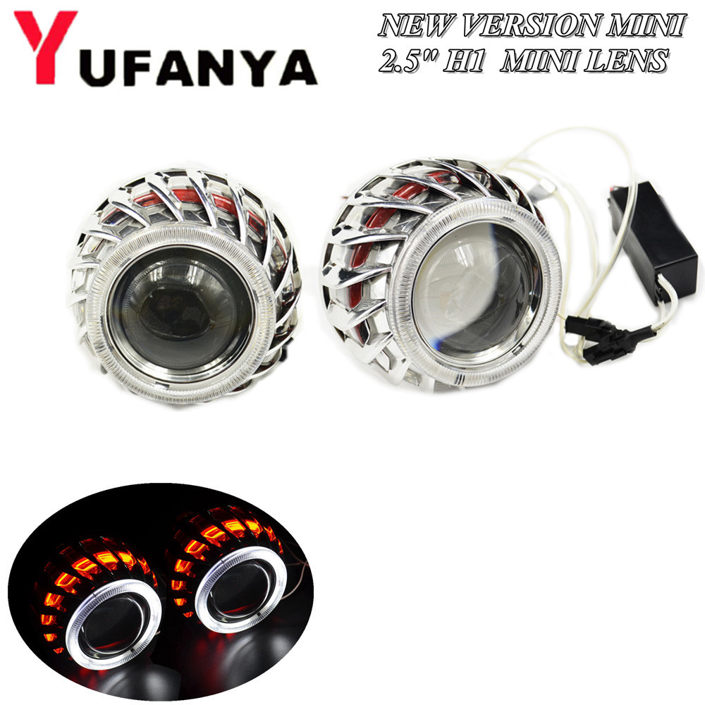 2.5 inch mini bi xenon hid projector lens with Fire wheel angel eyes shrouds H1 H4 H7 retrofit car assembly kit DRL new version