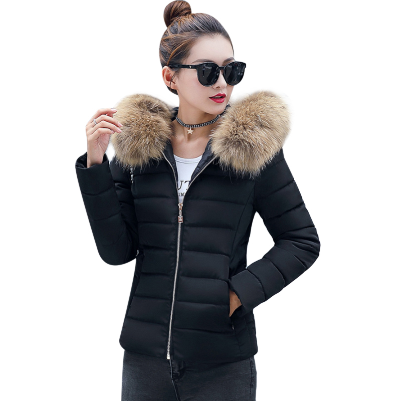 Winter Warm Jacket Parks Women Faux Fur Collar Down Wadded Coat Womens Cotton-Padded Jackets Female Thickening Plus Size 4XL F3 winter jacket women cotton padded thickening warm coat women s wadded jackets fur hood snow wear outerwear coats and parkas