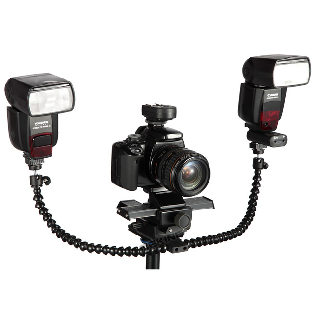Meking Macro Shot Dual Arm Bracket Hotshoe Mount Octopus Flash Holder with Ball head for Speedlite DSLR Camera Tripod Plate