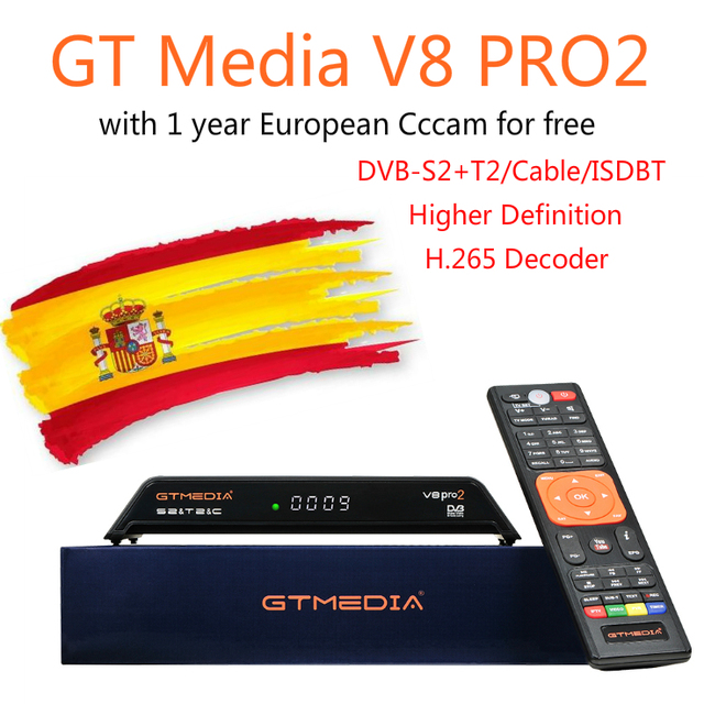 GT Media V8 Pro2 DVB-S2/T2/C H.265 Satellite Receiver with 1 year Spanish europe ccam Cccam clines newest version of V8 golden