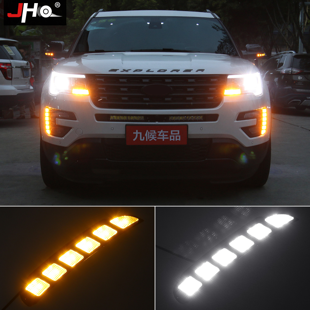 JHO 12V Car LED DRL Daytime Running Light Yellow Turn Signal Light For Ford Explorer 2016