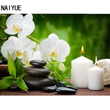 NAI YUE Home DIY 5D Diamond painting cross stitch Orchid candles Round Diamond Embroidery Wall Sticker Mosaic Room 40*30cm