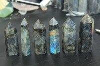 6pcs natural labradorite quartz crystal point wand free shipping