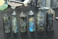 6pcs natural labradorite quartz crystal point wand free shipping