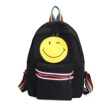 2017 Women Emoji Canvas Backpack Leisure Preppy Sweet Backpack Smiling Face Backpacks Young Zipper mochilas School bag 9.18