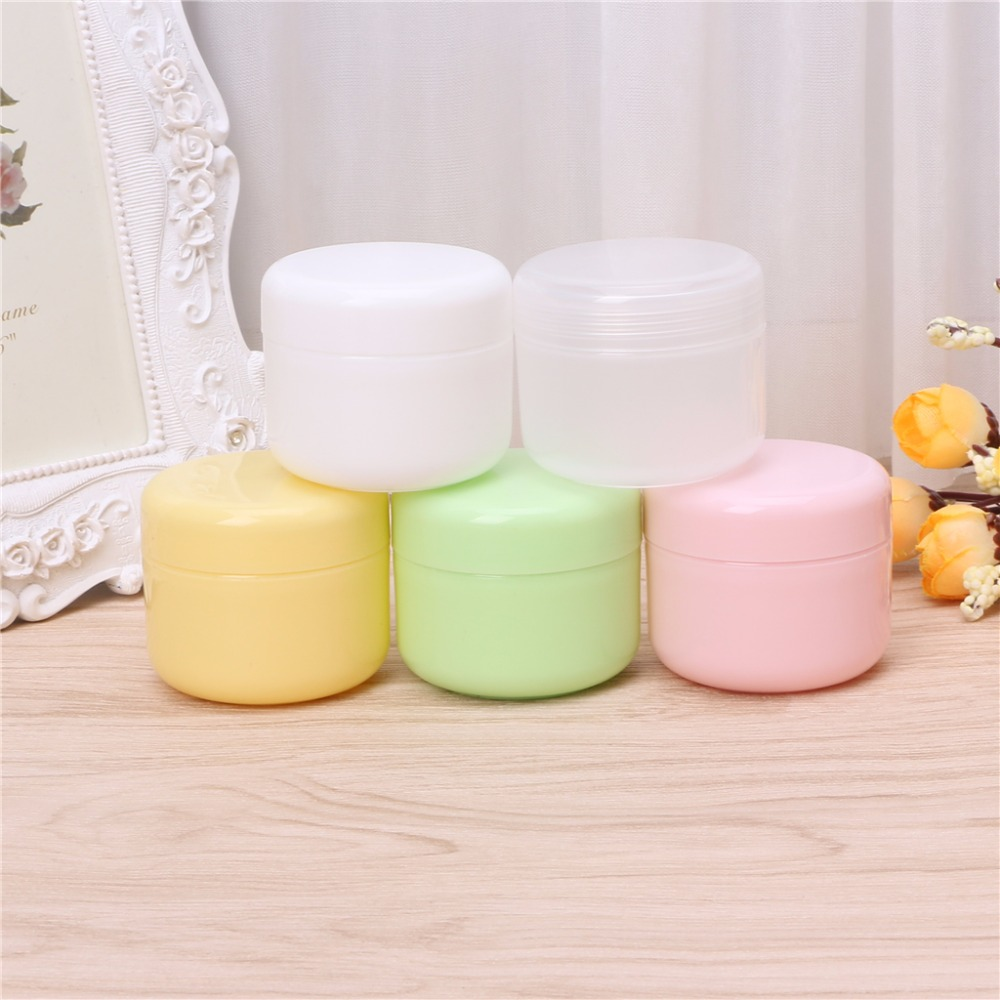 5 Colors Plastic Cosmetic Travel Empty Jars Pots Makeup Cream Lip Balm Container 10g/20g/50g/100g