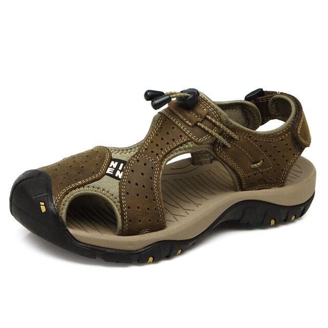 Мужчины Сандалии Кожаные Мода Летняя Обувь Мужчины Тапочки Дышащая мужская Сандалии Причинно Обувь Кожаная Sandalias Плюс Размер 38-45