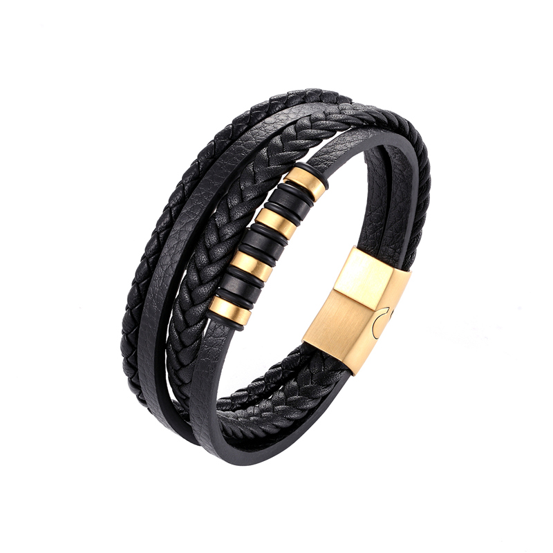 New Wholesale Price Classic Genuine Leather Bracelet Men Charm Jewelry Multilayer Magnetic Buckle Gift For Cool Boys Pulseira