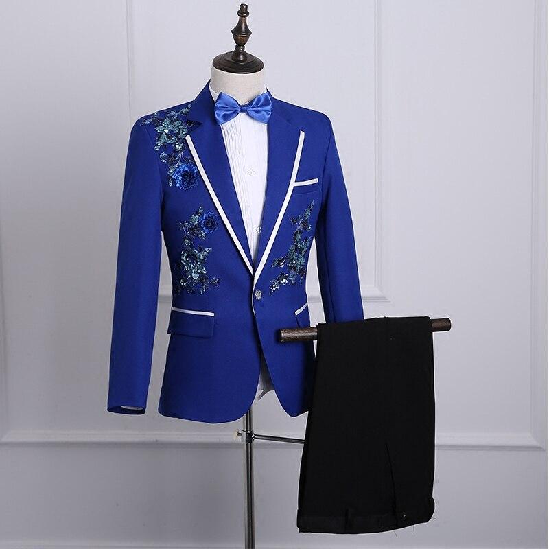 2018 new fashion sequins flowers men's clothing suit suit singer host stage chorus performance performance two-piece TB180920