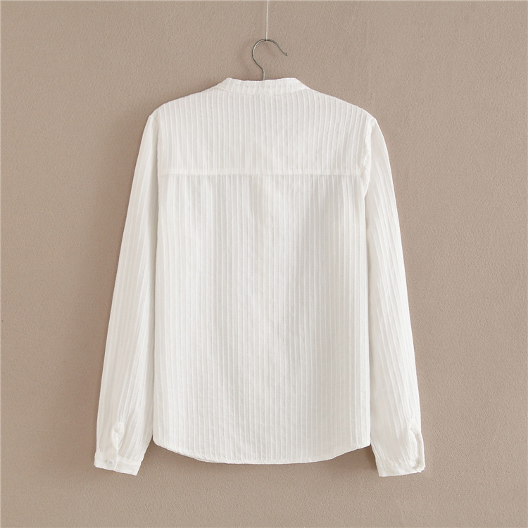 Casual Tops Printemps Arrivé 2018 À D318 30 Manches Vêtements Solide Nouveau Femmes Mince Femme Blanc Chemises Arc Longues Blouses IwxwPqg