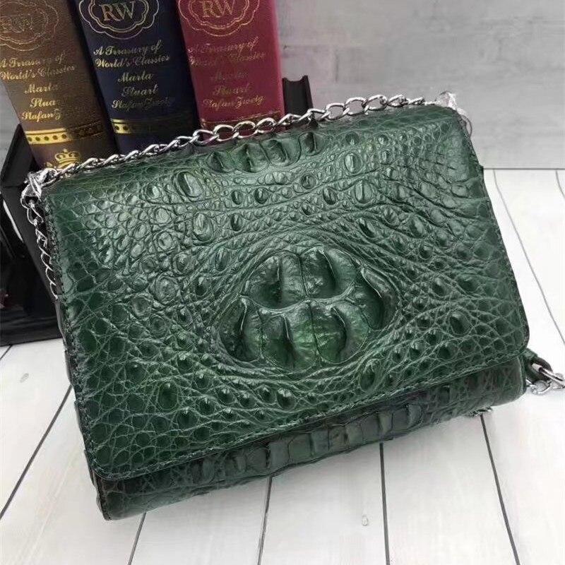 Luxury Designer 100% Genuine Crocodile Skin Leather Women's Small Evening Purse Silver Chain Bag Green Color Single Shoulder Bag
