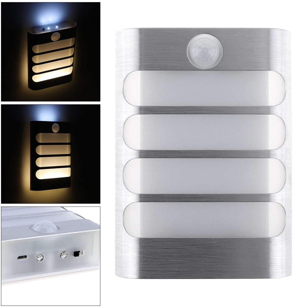 Recarregável luz da noite com sensor de movimento conduziu a lâmpada de parede da noite 3 modos de luz suporte carga usb para o quarto/escada/porta