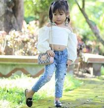 Hot Sales Children Set 2019 Summer Fashion Off Shoulder Baby Girl Clothes Top +hole Jeans 2pcs for 1-5 Years Girls FZ9453