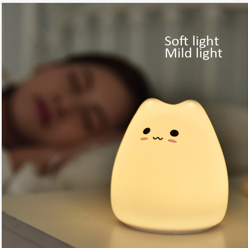 7 Colourful Mini LED USB Children Cat Dog Silicone Soft Cat Baby Night Light Creative Rechargable Bulb For Baby Bedroom Luminar in LED Night Lights from Lights Lighting
