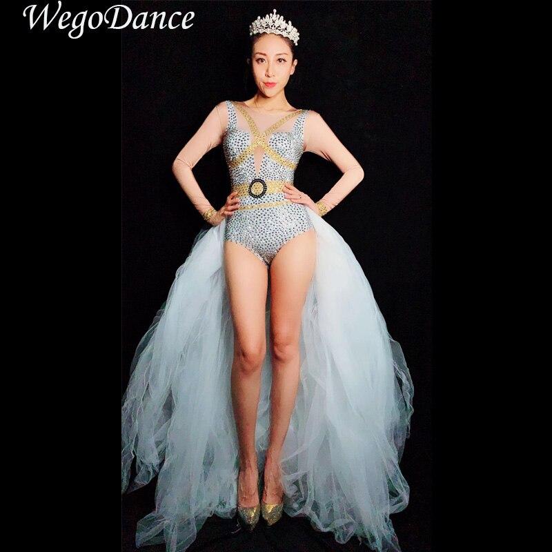 Nouvelle mode blanc motif queue Spandex combinaison maille Trains anniversaire célébrer barboteuses tenue femmes chanteuse danse Leggings tenue