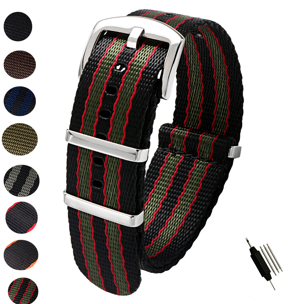 20mm 22mm Seat Belt Nylon NATO Zulu Strap Heavy Duty Military Watch Band Replacement Watch Straps Black Blue Grey James Bond