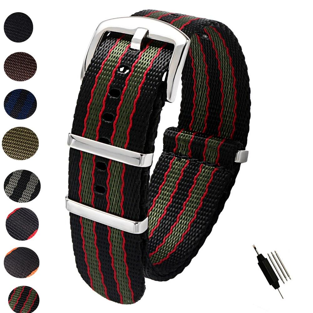 20mm 22mm cinto de segurança náilon otan zulu cinta resistente militar relógio substituição banda correias preto azul cinza james bond
