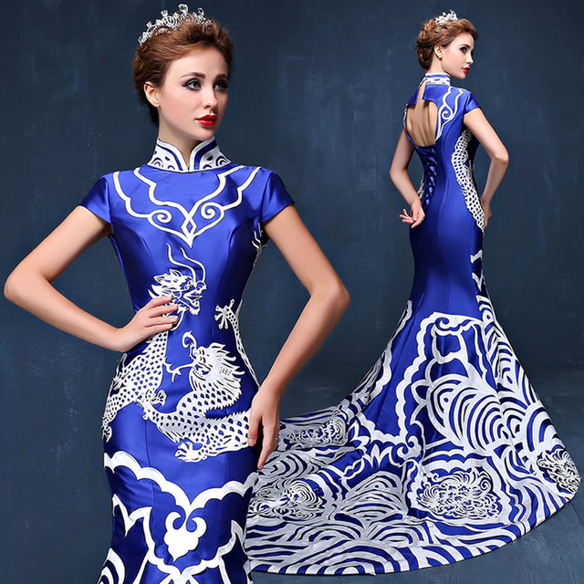 Luxury Royal Blue Backless Cheongsam Qipao Dresses Chinese Evening Gown China Dress Traditional Robe Chinoise Oriental