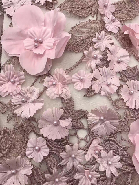 Pink Lace Flower Organza 60d Fabric Flowers Luxury Lace Fabric Beaded Stunning Applique Patterns Flowers